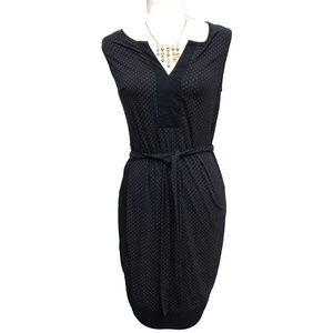 Ann Taylor Stretch Knit Blue Polka Dot Dress